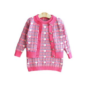 Girls Sweater Sets Kids Clothing Baby Clothes Outfits Autumn Winter Knitting Patterns Cardigan Coat Sleeveless Dress Vest Suits B8362