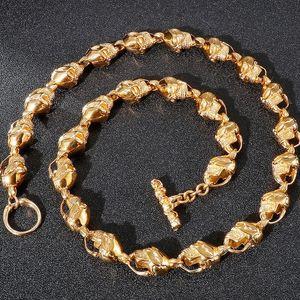Zincirler 14mm Altın Katı Paslanmaz Çelik Bağlantı Kolye Erkekler Için Goth Mücevherat Erkek Gotik Aksesuarları Toptan Öğeler