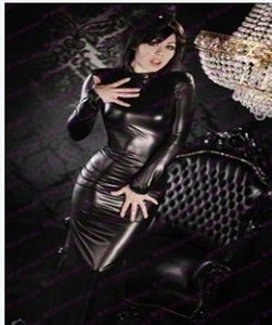 Sexy Turtleneck Faux Leather Women Dress Long Sleeve Mid Bodycon Vestidos Erotic Fetish Stretch Latex Tight Nightclub Costume