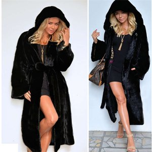 Plus Size Faux Fur Coat Womens Winter Warm Long Style Outerwear Clothing With Sash Elegant Fashion Hooded Women Coats