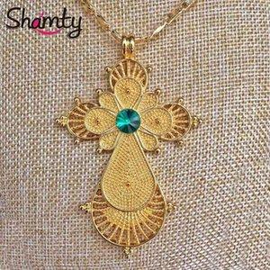 Кулон Ожерелья Шамты Эфиопское Ожерелье Зеленый Камень Чистый Золотой Цвет Африканский Нигерия Судан Эритрея Кения Eretrean Habesha Style Jwelery
