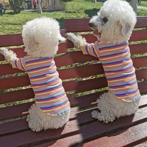 Suprimentos para animais de estimação cão e gatinho moda confortável roupa macia listrada arco-íris cor camisola colete conveniente e prático