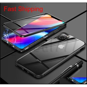 Front Back Double Sided Glass Magnetic Phone Case For Iphone 11 Pro Max Xr X Xs Max 6 7 8 Plus Double-sided Transparent jllKBd allguy