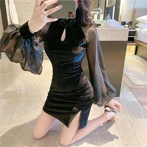 Повседневные платья женская одежда 2021 сексуальный бархат Cheongsam платье шить шифон сетка фонарь с длинным рукавом мандарин воротник 400h