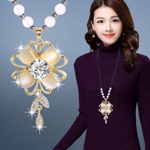 Outono inverno suéter cadeia longa e versátil fox ornamento vestido coreano acessórios colar feminino pingente