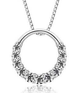 2020 Fahmi 925 argento sterling pendente collana donna 11pcs zirconia cristallo 1.2 cm * 1,2 cm collana d'acqua pendente anello rotondo