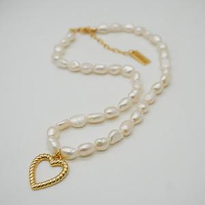 Femmes eau douce perle naturelle Neckalce avec pendentif coeur Couple haut de gamme plaqué or