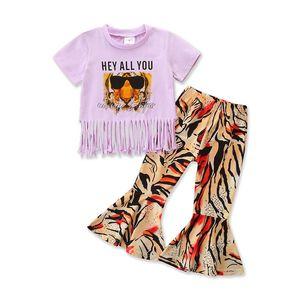 Wholesale Designer Baby Girl Boutique Clothes White Short Sleeve Tiger Tassel Shirt Leopard Bell-bottomed Pants Children Sets Kids Outfit