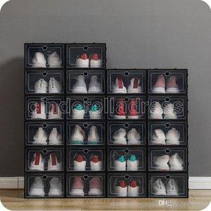 Addensare Scatole di scarpe di plastica Addensare Cancella Scatola di stoccaggio della scarpa antipolvere Trasparente Flip Candy Colore Impilabile Scarpe Impilabile Scatole Organizzatore all'ingrosso 0269pack