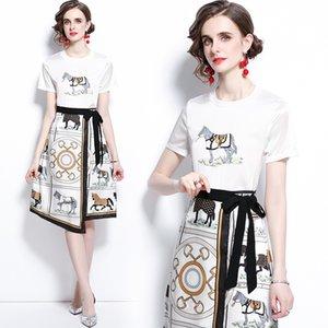 Trend Womens Set T-Shirt + юбка с коротким рукавом напечатанные лето двух частей набор высококачественной леди нерегулярные модные наборы модные работы повседневные костюмы
