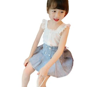 Cute Girls Suits Kids Sets Summer Lace Tank Tops Denim Skirts 2Pcs Child Outfits Fashion Girls Clothes Kids Clothing B3986