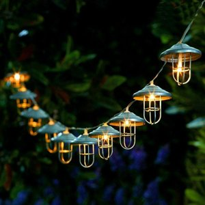 Strings LED String Lights Retro Lampshade Fairy Battery Operated Wrought Iron Rose Gold Holiday Lighting For Cafe Party
