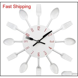 2017 New Modern Kitchen Wall Clock Sliver Cutlery Clocks Spoon Fork Creative Wall Stickers Mechanism Design Hom jllFEU mywjqq