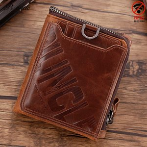 Leather Six Uncle Genuine Men's Wallet Short Anti-theft Brush Small Money Clip Mini Change Bag Head Leather
