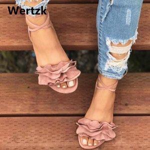 Wertzk 2021 Donne Sandali Gladiatore Sandali Pizzo Up Tacchi piatti Scarpe Moda Donna Cinturino per caviglia Sandali estivi Zapatos Mujer Drop L095