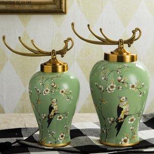 Керамическое хранилище JAR Desktop Украшение Цветочное расположение Ваза Европейская гостиная украшения дома