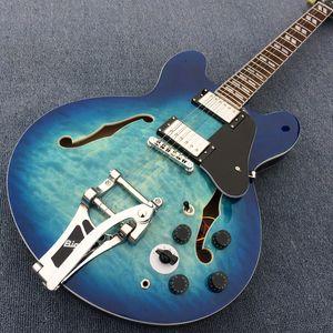 New Style Hollow Jazz Guitar Electric Guitar, Blue Burst Colour Tremolo System, hardware cromato, doppia Frutti elettrici Chitarra elettrica180115