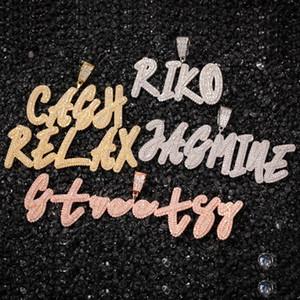 Custom Name Cursive Letter pendant Necklace Iced Out Gold Silver Color Men Women Hip Hop Miami Baguette Initials Letter Necklace
