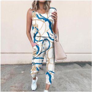 Kadın İki Parçalı Pantolon Eşleştirme Ayakkabı Bahar Yaz Sonbahar Avrupa Amerikan Giyinmek Gevşek Fit Baskı Kolsuz Ekip Boyun Orta Bel Rahat Moda Giysileri