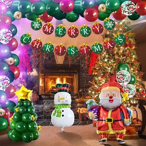 Hot Set Christmas Balloons Party Banners Supplies Merry Xmas Arch Garland DIY Red Candy Foil Ballons New Year Decorations Gifts