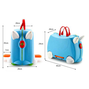 Kids Trolley Mount Suitcase Universal Wheel Portable Boarding Case Trunk Baby Cartoons Storage Rolling Toy Luggages Box