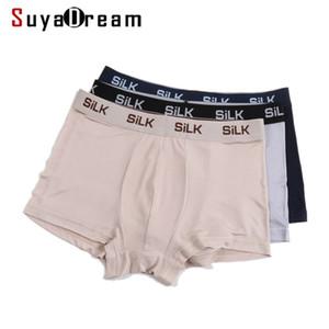 Suyadream hommes boxer shorts 100% soie naturelle saines culottes solides en tissu naturel sous-vêtements C0306