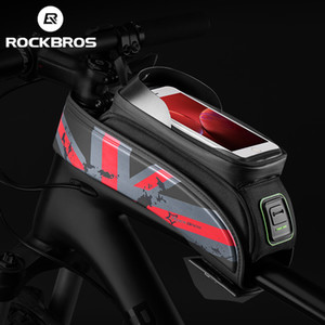 "ROCKBROS 5.8"" 6.0"" Portable Front Top Tube Touchscreen Frame Bag MTB Mountain Bike Cycling Phone Bag"