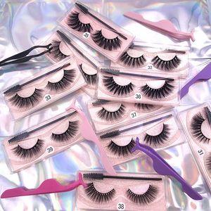 Makeup Eyelash Packaging Box Eye Lashes Set Thick Lengthening 20 Style Single Packaging Boxes With Tweezer Brush Opp Bag
