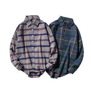 2021 Camisetas de tela escocesa de hombres casuales Mangas largas Nuevo Primavera Otoño Plus M-5xl Soku de gran tamaño