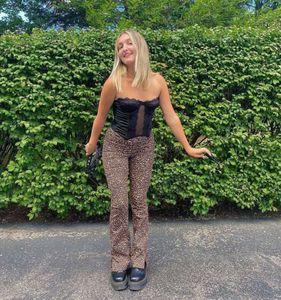 waist men's split New side Sexy mid Leopard print slim micro pants