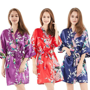 Satin Bath Robes for Women Traditional Japanese Yukata Sleepwear Short Sexy Lingerie Satin V-neck Kimono Dress With Belt
