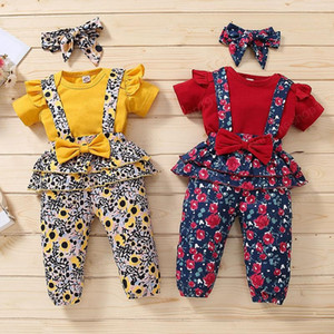 kids clothes girls Floral outfits infant Bow+Flying sleeve Tops+Flower print Strap pants 3pcs set 2021 Summer baby Clothing Sets