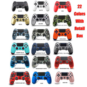 Controlador inalámbrico Bluetooth para la vibración PS4 Joystick Gamepad Game Handle Controllers for Play Station sin logo con caja de venta DHL