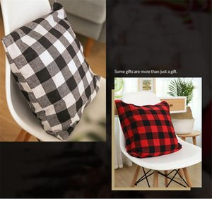 Christmas Buffalo Check Plaid Throw Pillow Covers Cushion Case for Farmhouse Home Decor Red and Black 18 Inch Pillow Case CCA2255