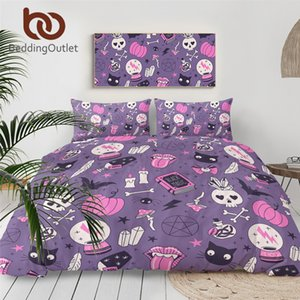 BeddingOutlet Black Magic Bedding Set Witchcraft Bedspread Crystal Ball Duvet Cover Skull Bats Bed Set Witching Purple Bedlinen C0223