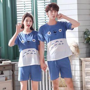 Couples Pajamas Set Cartoon Printing Home Clothing Lovers Casual Wear Summer Woman man Short Sleeve Shorts Sleepwear