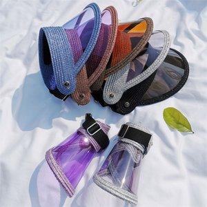 2020 NUEVO SUN SOPOR MUJER DAMELE Color Color Transparente Topless Plastic Sombrero Sombrero Lurex Paja Visa Beca Cap Deporte al aire libre Playa Sombreros Y0223