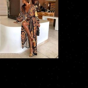 Dropshipping Women Vintage Deep V neck Print Maxi Dress Ladies Long Sleeve Formal Dresses Sexy Clubwear Party Sundress S XL
