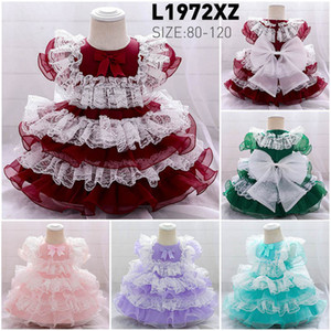2021 New Lace Girls Dresses Baby Dress Wedding Formal Dresses Tutu Princess Tiered Skirts Pettiskirt Party Kids Clothes 1-5Y B3809