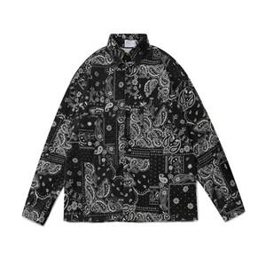 2021 NUEVO Kiryaquy Men Paisley Costa Oeste Crips Sangre Moda Algodón Casual Camisas Camisa de alta calidad de bolsillo Mangas largas S 2XL # 01 TDQC