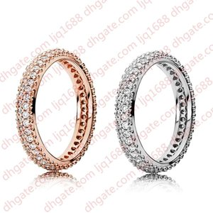 New Fashion Double Row Diamond Ring CZ Diamond Set Original Box for Pandora 925 Sterling Silver Lady Ring Free Shipping