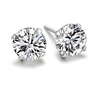 925 Sterling Sier-Studie Ohrringe für Frauen Four Pinong Sona Stone Trendv Engagement Poison QYI Juwelen