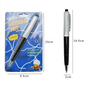 Juguetes divertidos pluma con caja de embalaje abril tontos día exótico bolígrafo bolígrafos impactantes electricidad choque juguete regalo broma broma truco