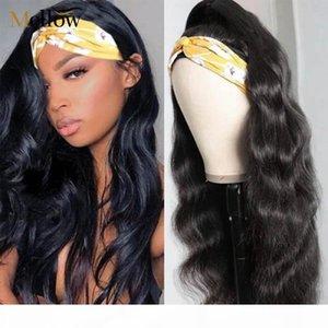 Vücut Dalga İnsan Saç Bandı Peruk 180 Yoğunluk Uzun Dalgalı Peruk Brezilyalı Tam Makine Yapımı Kafa Siyah Kadınlar Için
