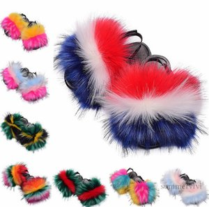 Kids rainbow faux fox fur slippers girls home sliders raccoon fluffy non-slip indoor flats shoes fashion children beach slipper Q0969