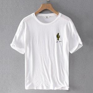 2021 새로운 여름 통기성 린넨 짧은 슬리 티어 티셔츠 남성용 캐주얼 화이트 티셔츠 망치 티셔츠