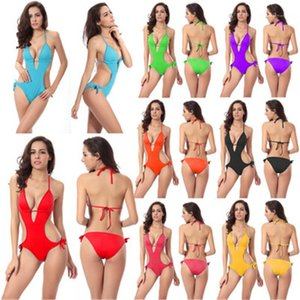 Swimwear Summer Female New Solid Color Back Straps Beach Swimming Pool Bikini Womens One-piece Swimsuit Fashion Trend Sexy Open Back Sling