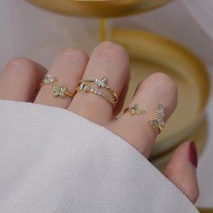 Joyas delicadas 14K Real Oro Ajustable Anillos de corazón de cristal para mujer Simple Style Cubic Circon Butterfly Anillos