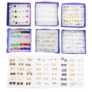 Multi-style Flower Star Simple Crystal Study Earrings Set for Women Geometric Plastic Small Orb Party Piercing Jewels