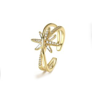 Fashion Simple Double Star Ring Open Index Finger Wedding Tail Rings